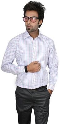 Culture Plus Men's Checkered Formal White Shirt