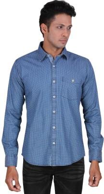 Dave Men's Polka Print Casual Blue Shirt