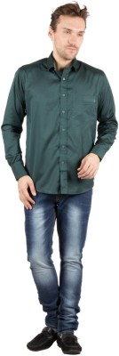 Jappshop Men's Woven Casual Green Shirt