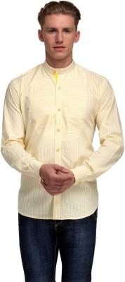 99 Hunts Men's Striped Casual Yellow, White Shirt
