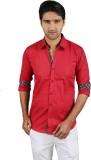 Kiez Men's Solid Casual Red Shirt