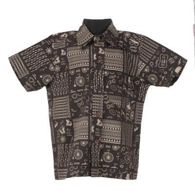 Le Luxe Boy's Printed Casual Black Shirt