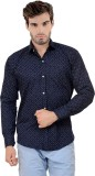 X-Cross Men's Printed Casual Blue Shirt