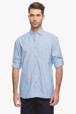Cotton World Men's Solid Casual Blue Shirt