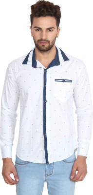 Caddy Cark Men's Printed Casual White Shirt