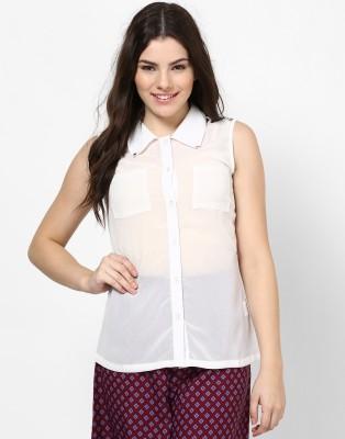 Kaxiaa Women's Solid Casual White Shirt