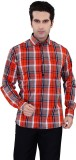 Jazzup Men's Checkered Casual Red, Black...