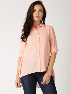 All About You Women's Solid Casual Orange Shirt