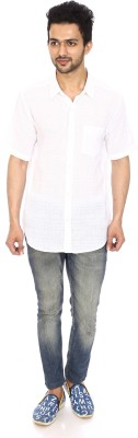 Kalaa Men's Solid Casual White Shirt