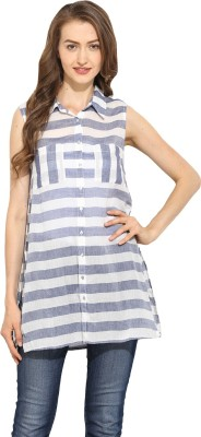 Free & Young Women's Striped Casual White, Blue Shirt