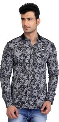 Glabrous Men,s Floral Print Casual Black Shirt