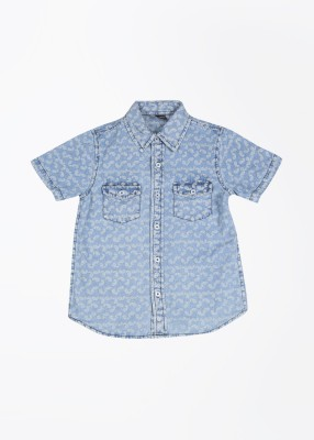 Cherokee Kids Boy's Printed Casual Blue Shirt