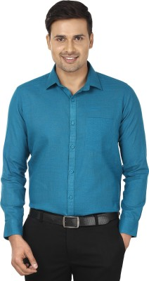 Edinwolf Men's Solid Formal Linen Blue Shirt
