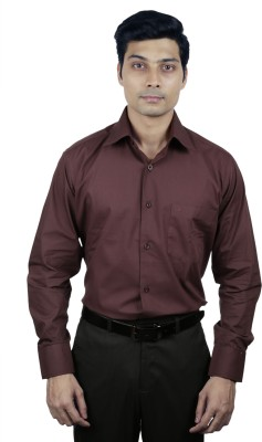 Nerellaas Men's Solid Formal Brown Shirt