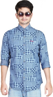 Playfox Men's Printed Casual Blue Shirt