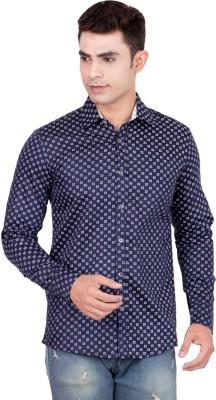 fds Men,s Animal Print Casual Reversible Blue Shirt