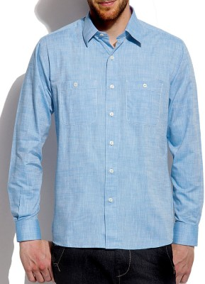 Roar and Growl Men,s Solid Casual Blue Shirt