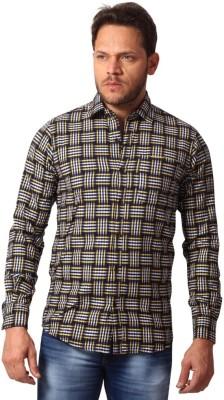 Club Fox Men,s Striped Casual Yellow Shirt