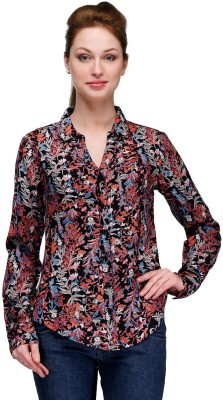 Pique Republic Women's Floral Print Casual Black Shirt