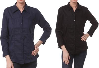 Meow Women's Solid Formal Dark Blue, Black Shirt