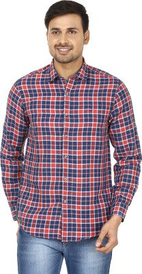 Wills Lifestyle Men's Checkered Casual Blue, Pink Shirt