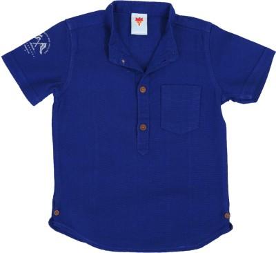 Ice Boys Boy's Solid Casual Blue Shirt