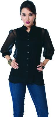 GardenVareli Women's Solid Casual Black Shirt