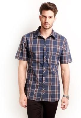 Change 360 Men's Checkered Casual Dark Blue Shirt