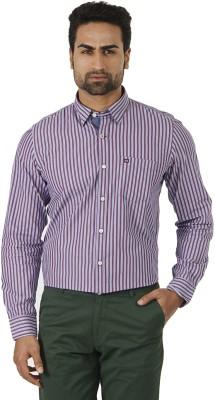 London Fog Men's Striped Formal Purple, Blue Shirt