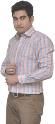 Benzoni Men's Striped Formal Linen Orange, Blue Shirt