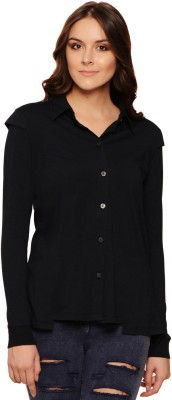 Why Knot Women's Solid Casual Black Shirt