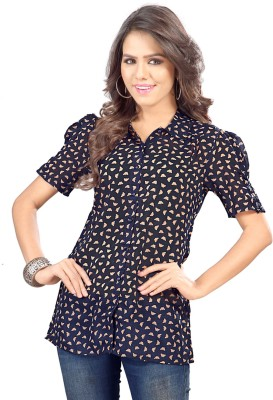 SFDS Women's Printed Party Blue Shirt