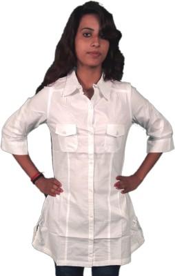 Miraaya Women's Solid Casual White Shirt