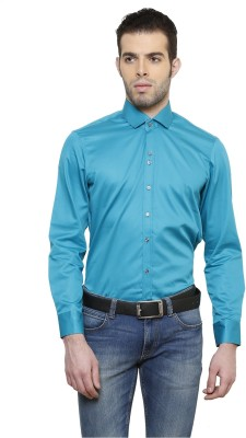 RICHARD COLE Men's Solid Formal Green Shirt