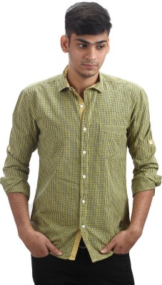 Fashion Bean Men's Checkered Casual Yellow Shirt