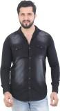 Meraki Men's Self Design Casual Black Sh...
