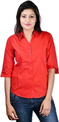Shop Avenue Women's Solid Casual Red Shirt