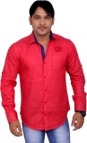 4guys Men's Solid Casual Red Shirt