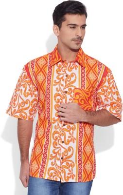Very Me Men's Floral Print Casual Orange Shirt