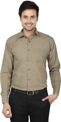 Spaky Men's Solid Formal Brown Shirt