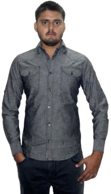 The GreeK Men's Solid Casual Denim Grey Shirt
