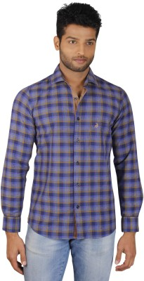V Seven Men's Checkered Casual Blue, Beige Shirt