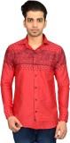 Libisto Men's Printed Casual Red Shirt
