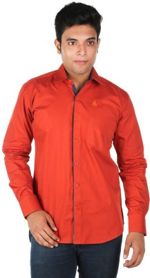 Relish Men's Solid Casual Orange Shirt