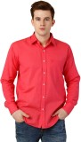 Oxolloxo Men's Solid Casual Pink Shirt