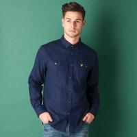 Lyle And Scott Vintage Formal Shirts (Men's) - Lyle And Scott Vintage Men's Solid Formal Blue Shirt
