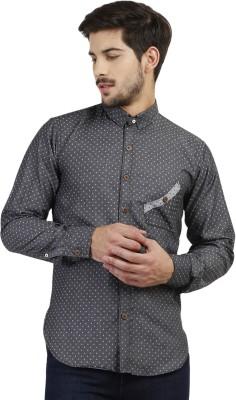 Marcello And Ferri Men's Geometric Print Casual Grey Shirt