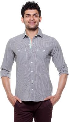Fashion My Day Men's Checkered Casual Black, White Shirt