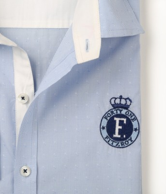 FORTY ONE FITZROY Men's Self Design Casual Light Blue Shirt