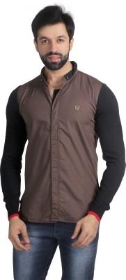 Nostrum Jeans Men's Solid Casual Brown, Black, Red Shirt